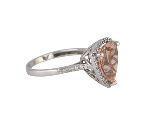 Women's 14K White Gold 13x13mm Trillion Morganite Diamond Accent Cocktail Ring