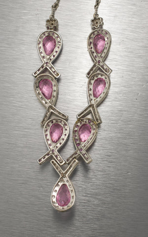 Ladies 14K Gold 22.30ctw Pink Sapphire Diamond Ribbon Breast Cancer Necklace
