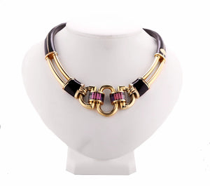 Ladies Marguax La Nouvelle Bague 18K Yellow Gold Enamel Gemstone Choker Necklace