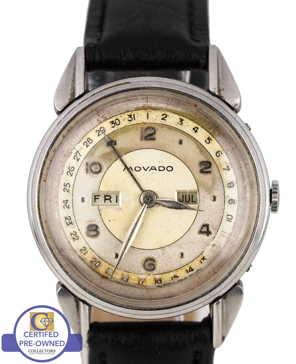 Vintage 1940s Movado Calendograph 14823 Silver Day Date 34mm Stainless Watch