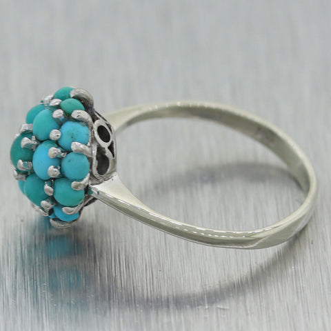 Vintage Estate 18k White Gold 1.30ctw Turquoise Ring