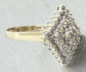 Vintage Estate 10k Solid Yellow & White Gold 0.40ctw Diamond Cluster Ring