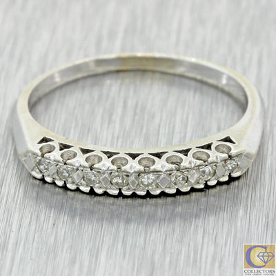 1940s Antique Vintage Estate 14k White Gold Diamond 3mm Stackable Band Ring J8