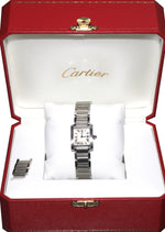 Ladies Cartier Tank Francaise 2384 Stainless Silver Ivory Roman Quartz Watch