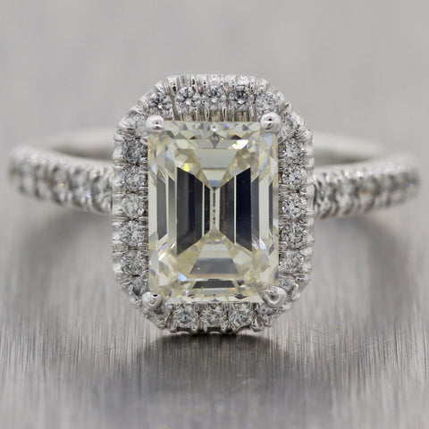 Emerald Cut 1.86ct GIA Diamond Platinum 2.26ctw Halo Engagement Ring
