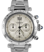 Cartier de Pasha 2113 38mm Stainless Steel Chronograph Automatic Ivory Watch