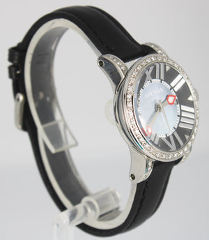 Ladies Locman Toscano Gray Mother Of Pearl Diamond Leather Strap 30mm Watch