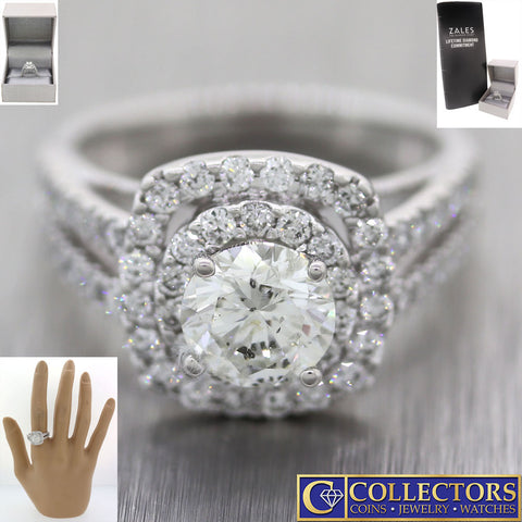 Zales Solid 14k White Gold 2.50ctw Diamond Halo Engagement Ring $10699 S8