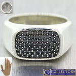 David Yurman Sterling Silver 12mm Pave Black Diamond US 9.75 Mens Ring $1100 G8