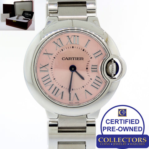 MINT Ladies Cartier Ballon Bleu Quartz 28mm Steel W6920038 3009 Pink Watch S8