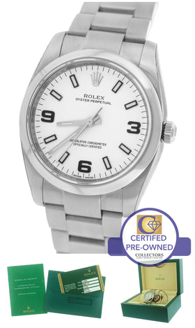 2015 MINT Rolex Oyster Perpetual 34mm White 114200 Stainless Steel Oyster Watch