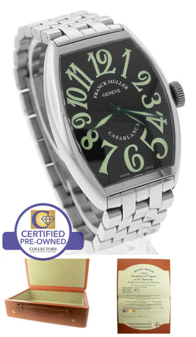MINT Franck Muller Casablanca 5850 CACBA Stainless Steel Automatic Black Watch