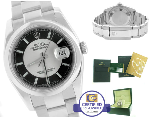 Rolex DateJust Tuxedo Silver Black 36mm 116200 Stainless Oyster Smooth Watch