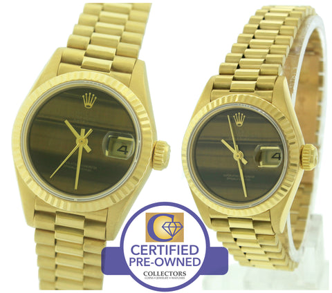 MINT Ladies Rolex DateJust President 26mm Tigers Eye 69178 18K Yellow Gold Watch