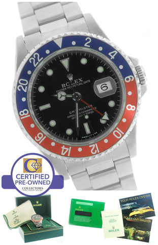 MINT Men's Rolex GMT-Master Pepsi Blue Red Stainless 16700 40mm Date Watch 16710