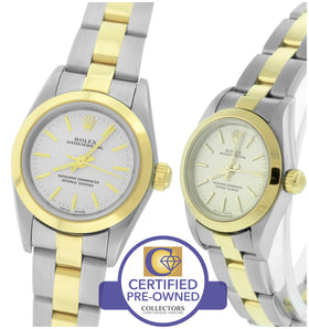 2003 Ladies Rolex Oyster Perpetual 24mm 76183 Two-Tone Stainless Silver Watch