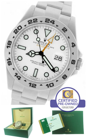 2014 Rolex Explorer II 42mm 216570 Polar White Orange Stainless GMT Date Watch