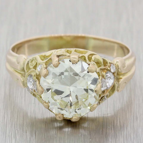 1880s Antique Victorian 14k Yellow Gold 2.89ctw Diamond Engagement Ring EGL
