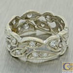 1930s Antique Art Deco 14k White Gold .50ctw Diamond 7mm Wide Band Ring J8