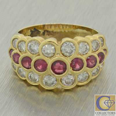 Vintage Estate 14k Yellow Gold 3.00ctw Diamond Ruby 12mm Wide Band Ring J8