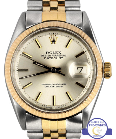 Rolex DateJust 36mm 1603 14K Two-Tone Gold Stainless Silver Jubilee Watch 16013