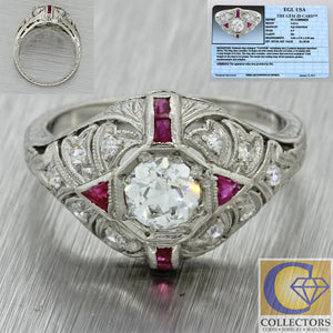 1920s Antique Art Deco Solid Platinum .43ct Old European Diamond Ruby Ring EGL