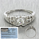 1920s Antique Art Deco 18k Solid White Gold .45ctw Diamond Engagement Ring EGL