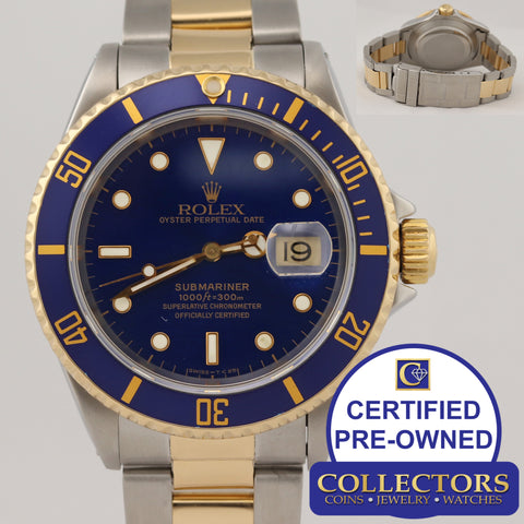 MINT Rolex Submariner 16613 X Two Tone Steel 18k Gold Blue Dive Watch N8