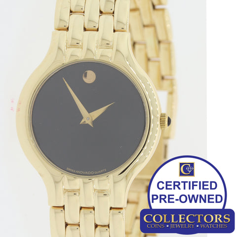 Ladies Movado Solid 14k Yellow Gold Quartz Diamond 26mm 101458 Dress Watch S8