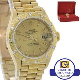 Ladies Rolex DateJust President 26mm 69288 69178 18k Gold Bark Diamond Watch