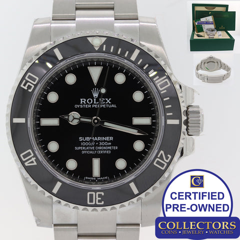 NEW STICKERED Rolex Submariner No-Date 114060 Steel Black Ceramic Dive Watch Y8