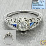 1920s Antique Art Deco 18k Solid White Gold .38ct Diamond Engagement Ring EGL