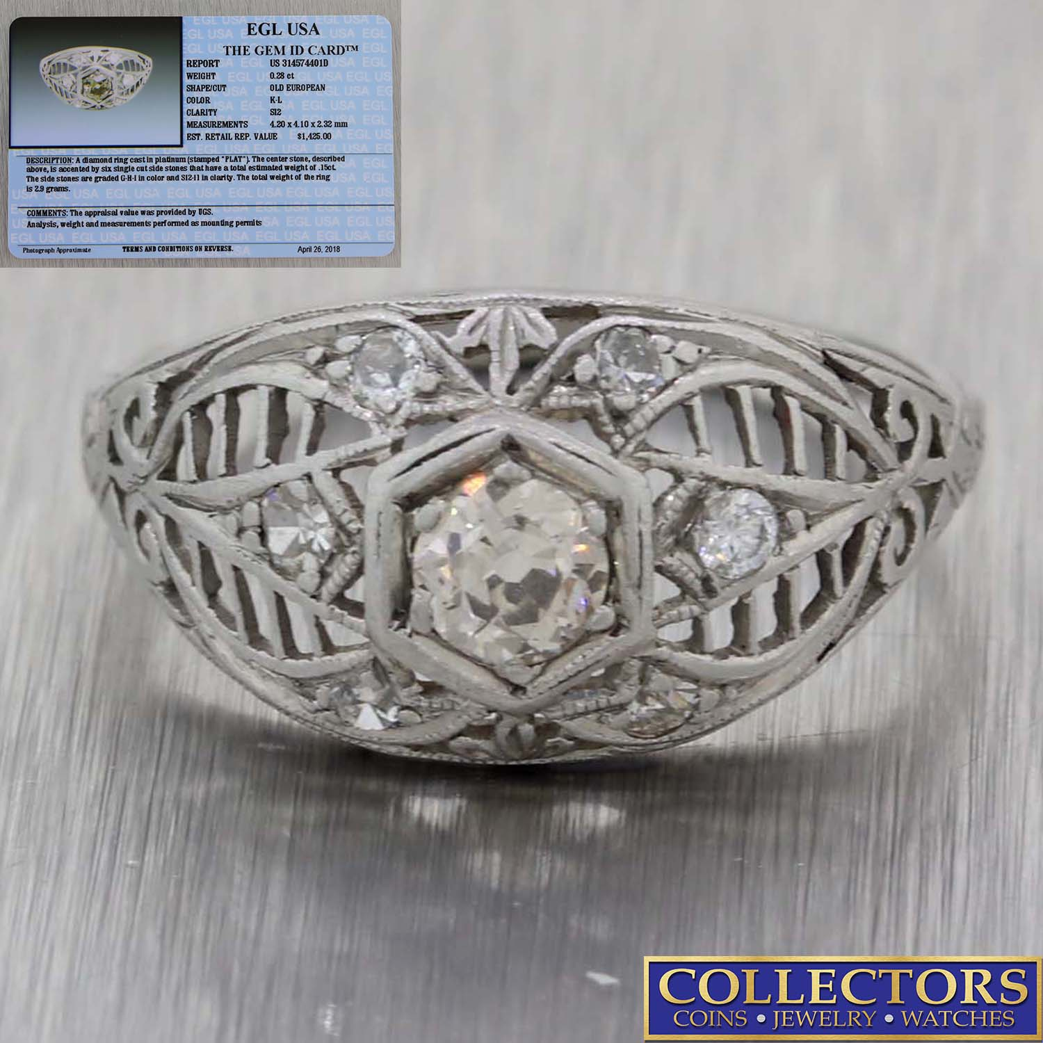 Antique Art Deco Platinum .43ctw Old European Diamond Engagement Ring EGL Y8