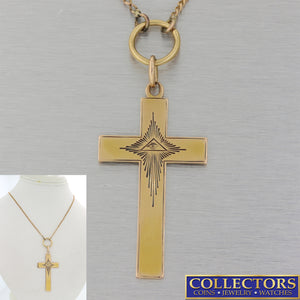 Mens Russian Tsar Era Antique Victorian 56 Solid Gold Orthodox Cross Neklace Y8