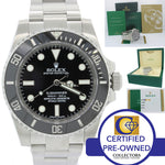 2018 MINT Rolex Submariner No-Date 114060 Steel Black Ceramic Watch Papers L8