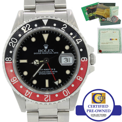 VTG Rolex GMT-Master II Coke Red Black Steel 16710 40mm Date Watch Box Papers