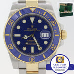 MINT 2018 Rolex Submariner Date Ceramic 116613 LB Two Tone Gold Blue Dive Watch A9