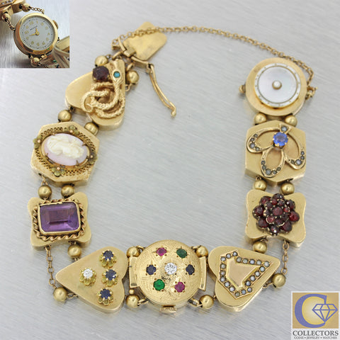 Vintage Estate Victorian Style Watch Charm Multi Gem Stone Diamond Heart Bracelet