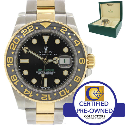 Rolex GMT-Master II Ceramic 116713 Black Green Two Tone Steel Gold Watch Box N8