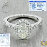14k Solid White Gold 1.41ctw Diamond Halo Engagement Ring EGL International