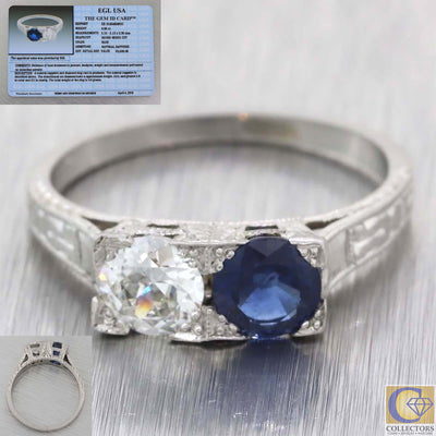 1930s Antique Art Deco Platinum 1.09ctw Diamond Sapphire Toi Et Moi Engagement Ring EGL A8 PL