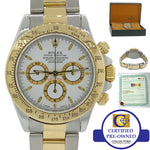 Rolex Daytona Zenith Cosmograph 16523 18k Gold Steel White Dial Chrono Watch B&P