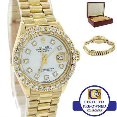 Ladies Rolex DateJust President 6917 18K Yellow Gold Diamond MOP Watch w Box J8