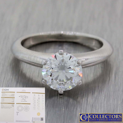 Tiffany & Co. Setting Platinum 1.39ctw GIA Solitaire Diamond Engagement Ring L8