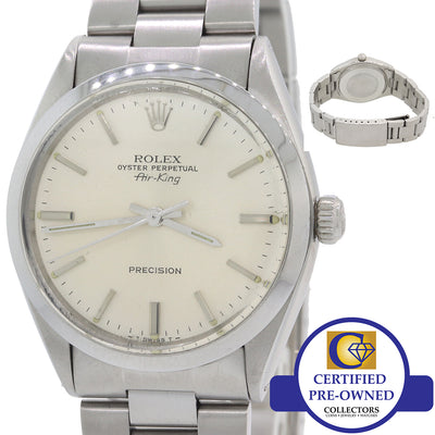 VTG Rolex Oyster Perpetual Air-King Precision Steel 5500 34mm Silver Watch F8
