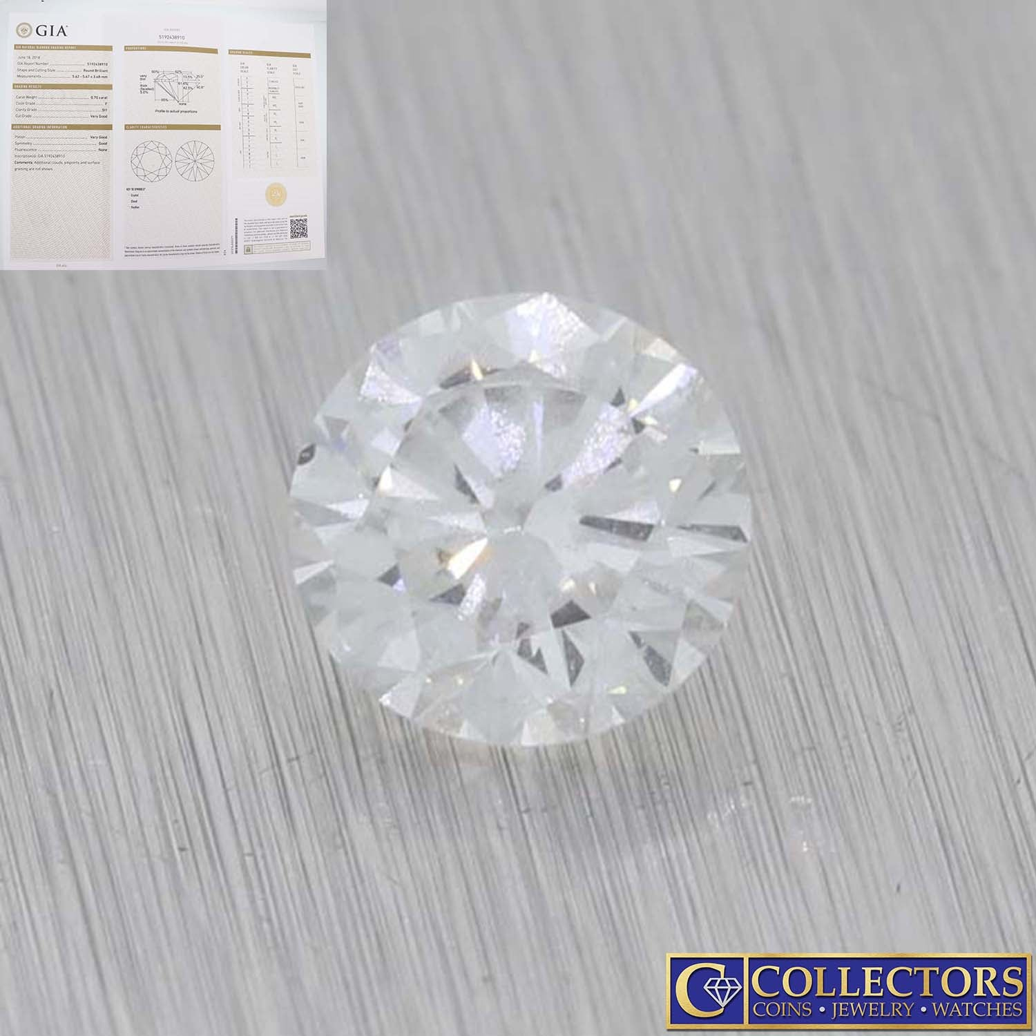 0.70ctw GIA Certified Round Brilliant Cut F SI1 Natural Modern Loose Diamond E8