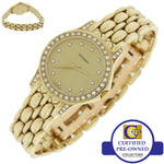 Ladies Movado Solid 14k Yellow Gold Quartz Diamond 22mm 75259809 Dress Watch