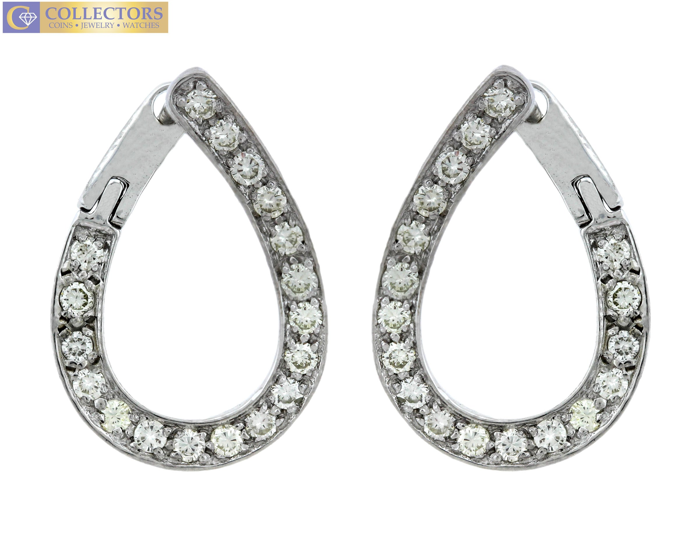 Lovely Ladies Estate 14K White Gold 1.44ctw Diamond Pear Shape Drop Earrings