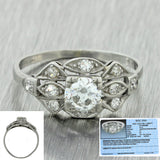 1920 Antique Art Deco Platinum 0.72ctw Diamond Fishtail Engagement Ring EGL $3350