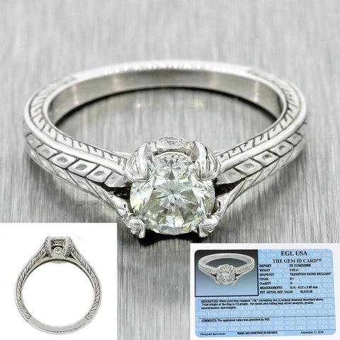 Vintage Estate Art Deco Style 14k White Gold 0.92ctw Diamond Engagement Ring EGL